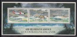 Cocos MNH Scott #285a Souvenir Sheet Of 3 Air-Sea Rescue Service - Cocos (Keeling) Islands