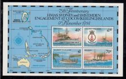 Cocos MNH Scott #210e Souvenir Sheet Of 4 75th Anniversary Naval Engagement HMAS Sydney, German Raider SMS Emden - Guerre Mondiale (Première)