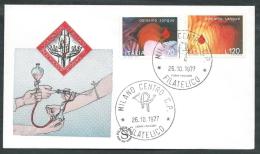 1977 ITALIA FDC FILAGRANO DONIAMO SANGUE NO TIMBRO ARRIVO - EDG11 - F.D.C.