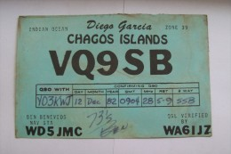 QSL,RADIO AMATEUR CARD-CHAGOS ISLANDS - Radio Amateur