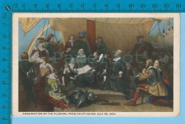 Patriotic USA ( Embarcation Of The Pilgrims By Weir  ) Carte Postale Post Card Recto/verso - Histoire