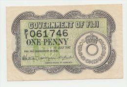 Goverment Of Fiji 1 Penny 1942 VF++ CRISP Banknote P 47 - Fidji