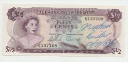 BAHAMAS 1/2 DOLLAR 1965 UNC (w/ Pen) PICK 17a  17 A - Bahamas