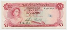 BAHAMAS 3 DOLLARS L. 1965 VF++ P 19a 19 A - Bahamas