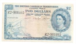 """British Caribbean Territories 2 Dollars 1961 """"F+"""" P 8c  8 C - Caraïbes Orientales"""