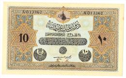 OTTOMAN TURKEY 10 Livres 1918 L. 1334 AUNC P 110x  (British Military Counterfeit) - Turquia