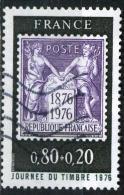 FRANCE 1870° 80c + 20c Noir Et Lilas Journée Du Timbre 1976  (10%de La Cote + 0,15) - Gebraucht