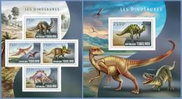 tg14408ab Togo 2014 Dinosaurs 2 s/s