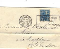 Yvert  257 Jeanne D´Arc Sur Lettre Flamme Bordeaux Bourse 1929 Pour St Emilion Gironde ( Daguin + Récépissé Mandat ) - Frankreich