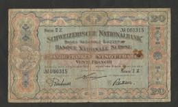 SUISSE / SWITZERLAND - BANQUE NATIONALE SUISSE - 20 FRANCS (01/01/1916) - SERIE 2 Z - Zwitserland
