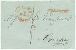 ANVERS 16 MARS 1869  APRES LE DEPART Naar COURTRAY  Port 4 - 1830-1849 (Belgique Indépendante)