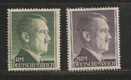 DEUTSCHES REICH, 1942, Mint Hinged  Stamp(s), Definitives Hitler  1M+2RM  ,  MI 799+800A, #16154 - Germany