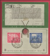 GERMANY, 1947,  Special Card Block  Of Stamp(s)  , 450 Years Leipziger Messe,   #16251 , - American,British And Russian Zone