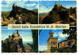 227> Repubblica Di SAN MARINO : Saluti 4 Vedute - 1969 - Bella Affrancatura - San Marino