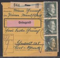 DR Paketkarte Mif Minr.518,793,3x 799 Pinne 1.9.42 - Deutschland