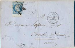N355: Lettre 20c: PARIS  >  Condé S/ Escaut... - 1853-1860 Napoléon III