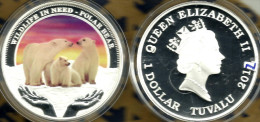TUVALU $1 WILDLIFE IN NEED- POLAR BEAR ANIMAL COLOURED FRONT QEII BACK 2012 SILVER PROOF READ DESCRIPTION CAREFULLY !!! - Tuvalu