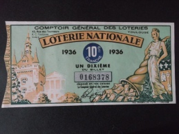 BILLET DE LOTERIE NATIONALE 1936 Dixième Tranche - Billets De Loterie