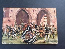 Le storiche contrade di SIENA - Comparsa della Lupa - cartolina FG C V 1954 Originali del Pittore Vittorio Giunti