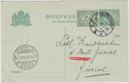 BRIEFKAART - OLANDA - NEDERLAND - PAYS BAS - 1910 - Post Card - Entier Postal - 2,5 + 2,5 - Viaggiata Da Amsterdam A ... - Postal Stationery