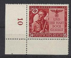 Germany 1943  20 Jahrestag Hitlerputsches  (**) MNH Mi.863 - Allemagne