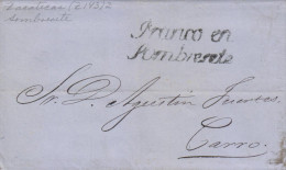 RG)1869 MEXICO, FRANCO EN SOMBRERETE SELLO NEGRO, CIRCULAR CANC. AT THE BACK, CIRCULATED COMPLETE LETTER TO - Mexico