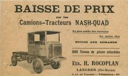 52 - Langres -cpa Pub Ancienne Des Ets. H. Rocoplan - ** Camions-tracteurs Nash-Quad ** - Cpa - Voir 2 Scans - France