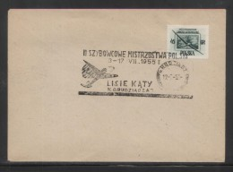 POLAND 1955 2ND NATIONAL GLIDING CHAMPIONSHIPS COMM CANCEL ON COVER LISIE KATY NEAR GRUDZIADZ GLIDER AIRPLANE AIRCRAFT - Airmail