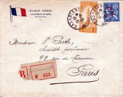 R-SIEGEL-Brief MAROC 1920 - 25+35F Frankierung Auf RECO SIEGEL Brief Gel.v.Casablanca > Paris - Marokko (1956-...)