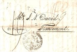 LAC Smirne Izmir Du 17/07/1823 Vers Francomont (verviers) Purifié Avec Trous Epidémie De Peste (balkans) - Turkey