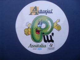 ADESIVO PUBBLICITARIO VINTAGE AUTOPIU' ASSITALIA - ITALIA '90 CALCIO - Adesivi