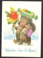 Teddy Bear Hedgehog By Zarubin On Russia USSR Used Postcard Issued 02 03 1984 Carte Postale URSS Entier - 1923-1991 USSR