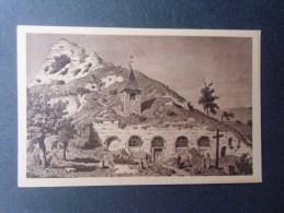dep78 HAUTE-ISLE  l��glise souterraine et la roche du colombier d'apres une gravure ancienne