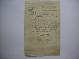 NOYALES AISNE MAIRIE COURRIER DE M. L´ INSTITUTEUR DU 18 NOVEMBRE 1921 - Historische Dokumente