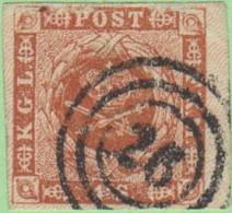"DEN SC #4  Royal Emblems  4 Margins, ""26"" (Hjoring) In Concentric Circles, W/sm Scuffs (?) @ T, CV $15.00 - 1851-63 (Frederik VII)"