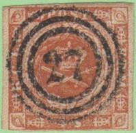 """DEN SC #4  Royal Emblems  4 Margins (barely @ BL), """"27"""" (Hobroe) In Concentric Circles, CV $15.00 - 1851-63 (Frederik VII)"""