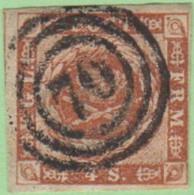 """DEN SC #4  Royal Emblems  4 Margins (barely @ TR), """"70"""" (Svendborg) In Concentric Circles, CV $15.00 - 1851-63 (Frederik VII)"""