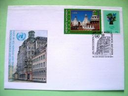 United Nations Vienna 2000 Special Cancel Wien On Postcard - UNESCO World Heritage Spain - Bird - Wien - Internationales Zentrum