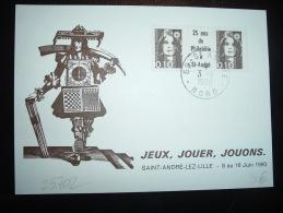 CARTE TP MARIANNE DE BRIAT 0,10F X2 AVEC PONT 25 Ans De Philatélie à St-André OBL. 3-11-1990 ST ANDRE NORD (59) - 1989-96 Bicentenial Marianne