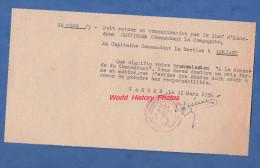Message Ancien Du Chef D'Escadron HETTINGER Commandant La Compagnie De VANNES Au Capitaine De La Gendarmerie De Lorient - Police