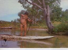 Brésil.. Animée.. Alto Xingu.. Ethnies.. Tribu Kamayurà.. Pêcheur.. Pirogue.. Arc Et Flèches - Brasilien