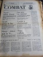 COMBAT N�8784 du 16/10/72 : Israel attise le feu / Thieu s'affole / la France & sa d�fense