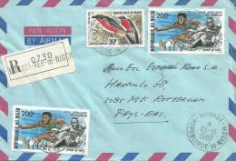 Niger 1987 Maradi Athletics Hurdle Laniarus Bird Registered Cover With Registration Slip - Niger (1960-...)