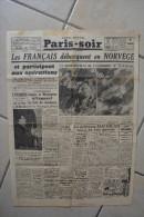 PARIS-SOIR du 21 avril 1940-fran�ais debarquent en Norvege-but Hitler:occuper des territoires