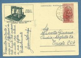 CARTOLINA POSTALE LEONARDO MAGLIO AUTOMATICO USATA DA ASIAGO VICENZA A TRIESTE IN DATA 21/8/53 - 6. 1946-.. Repubblica