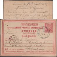Turquie 1889. Carte, Entier Postal Avec Réponse Payée, De Demirtache (Demirtaş, Village Du District D'Alanya) - 1858-1921 Empire Ottoman
