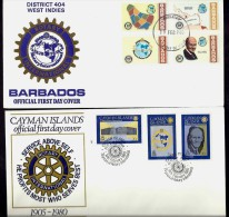 LOT 3 LETTRES ROTARY INTERNATIONAL- AMERICA- ILES : BARBADE-CAYMAN- BERMUDA- TAMPONS DE  19 74-78-80- 2 SCANS - Rotary, Lions Club