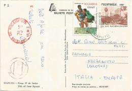 Mozambique 1990 Maputo World Cup football soccer Italia Universal �Automax� meter franking ULM 3 stationary viewcard