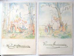 Lot 2x LITHO Aquarelle Illustrateur HILDEGARD ESCH  LUTIN ELFE COCCINELLE ESCARGOT INSECTE HUMANISE - Contes, Fables & Légendes