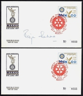 LOT 3 LETTRES ROTARY INTERNATIONAL + 1 CARTE- AMERICA- MEXIQUE- TIMBRES NON DENTELÉS- TAMPONS DE 1991- 3 SCANS - Rotary, Lions Club
